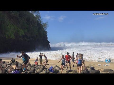 Dangers Of High Surf At Hanakapiai Beach On Kauai