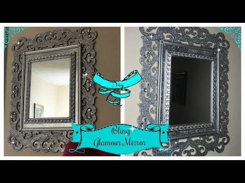 DIY - BLING GLAM WALL MIRROR USING DOLLAR TREE MIRRORS AND PICTURE FRAME