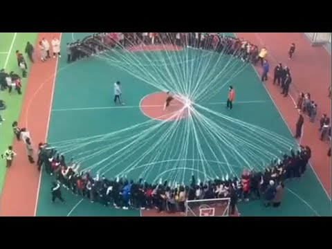 Chinese Students Make Giant Jump Rope