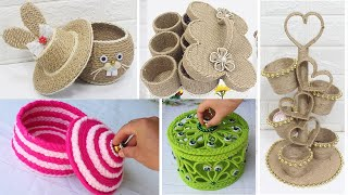 10 Storage jewelry box from jute rope/woolen | Diy storage box ideas
