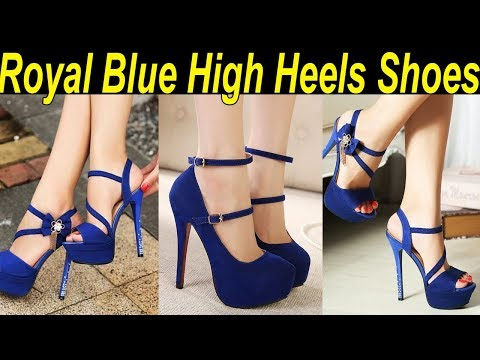 Ladies Royal Blue Peep Pumps Crystal Open Toe Wedding Stiletto High Heels Shoes