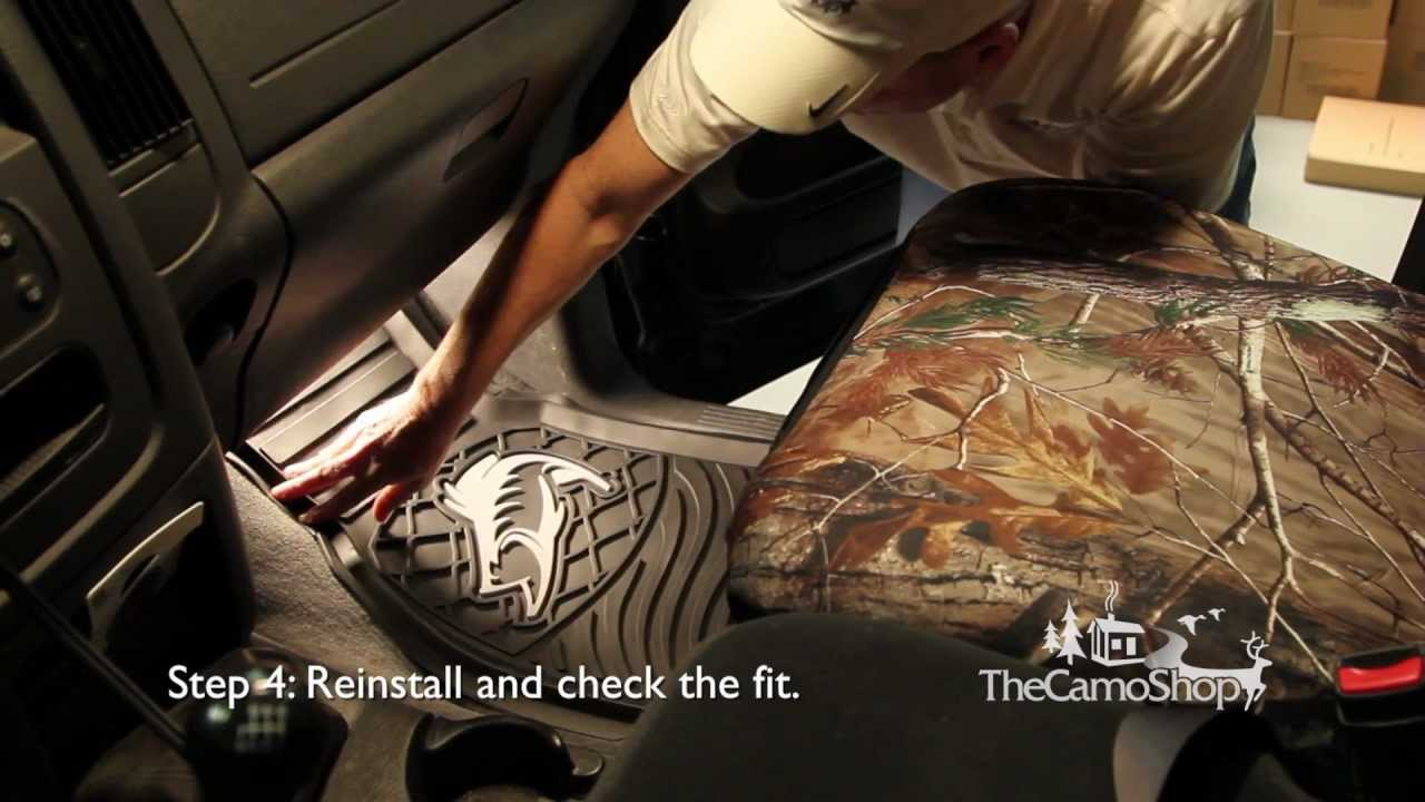 camo truck: camouflage floor mat installation - youtube