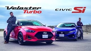 2019 Hyundai Veloster Turbo vs. Honda Civic Si Affordable Coupe Face Off смотреть