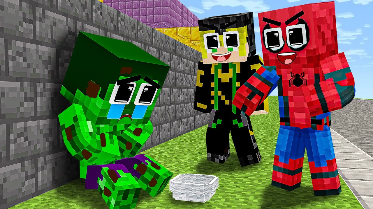 Monster School : Orphan Baby Hulk go Rob with Bad Spiderman and Repents - Sad Story - Minecraft