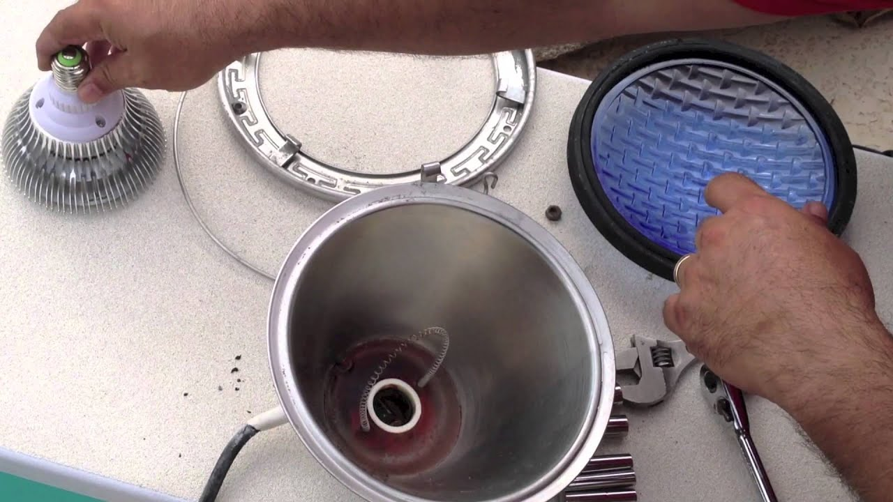 How to install an led pool light bulb youtube - Inground swimming pool light fixture ...