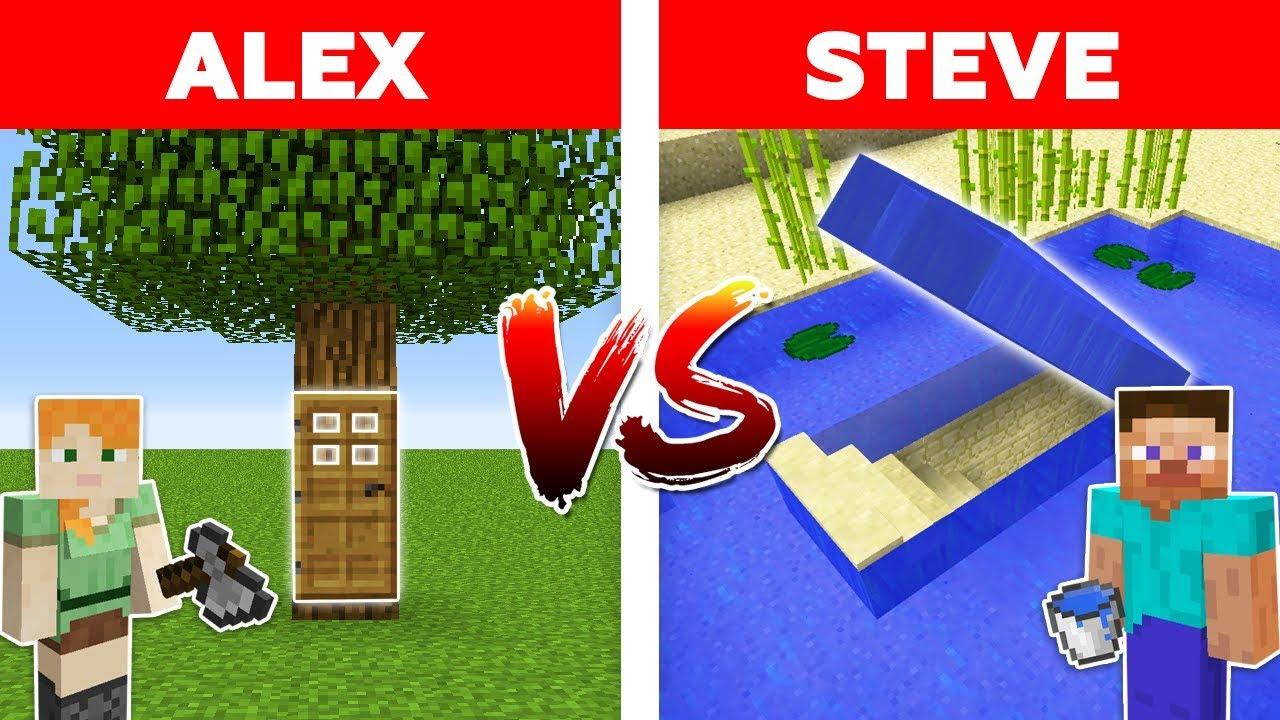 MINECRAFT - ALEX vs STEVE! UNDERWATER SECRET BASE vs HIDDEN TREE HOUSE / Minecraft Animation part 10