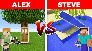 Minecraft - UNDERWATER SECRET BASE vs HIDDEN TREE HOUSE / Alex vs Steve Part 10