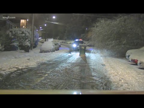 Snowy roads in Seattle