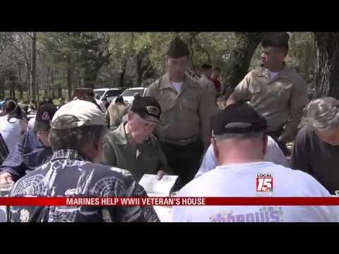 Marines Help WWII Vet With Yard Work