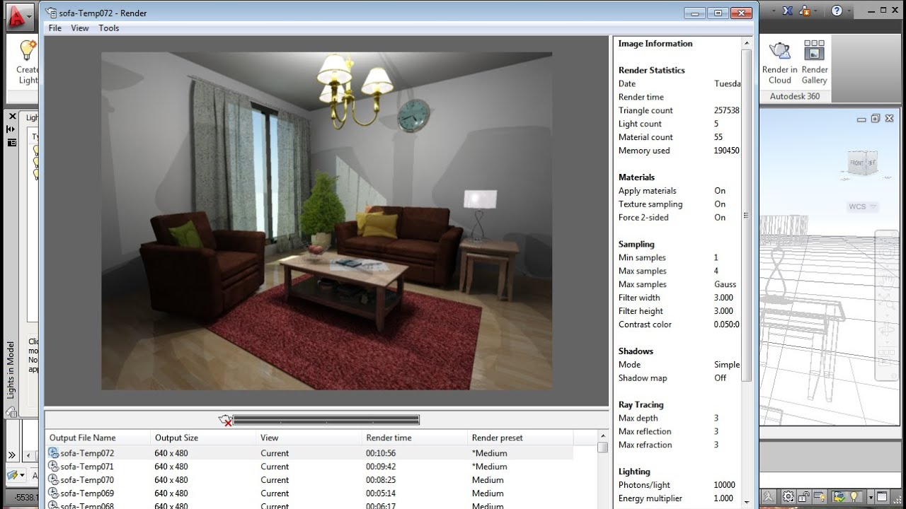 Autocad realistic living room tutorial youtube for 3d room design website