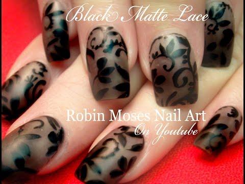 DIY Lace Nail Art on Matte Black Polish | Smokey Flower Nails Tutorial