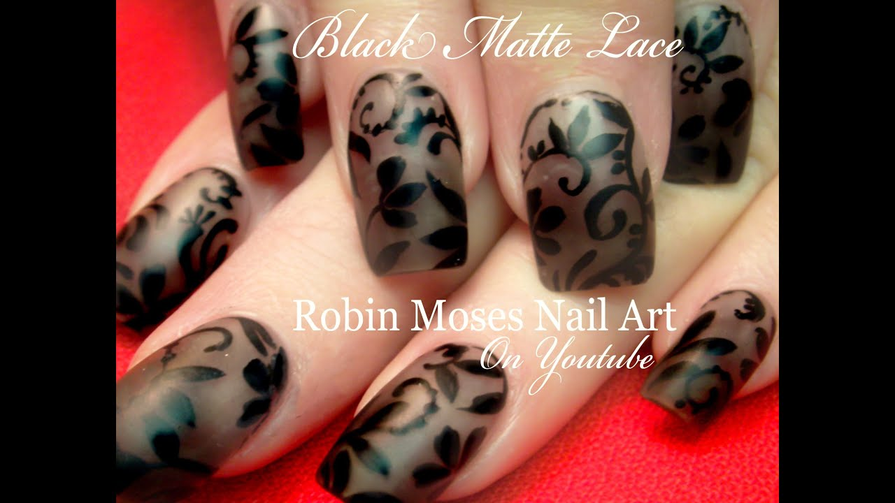 Diy Lace Nail Art On Matte Black Polish Smokey Flower Nails