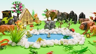 Animals for Kids Learn Forest Animals Names with Toys | Wild Animals Reptiles Insects Names