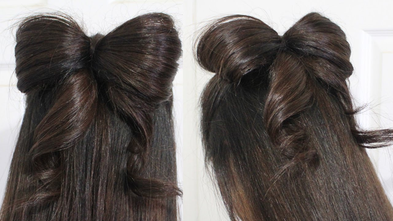 Hair Bow Tutorial Hairstyle Half-Updo for Medium Long Hair - YouTube