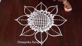 Freehand rangoli design without dots ll best rangoli designs ll Easy and simple muggulu