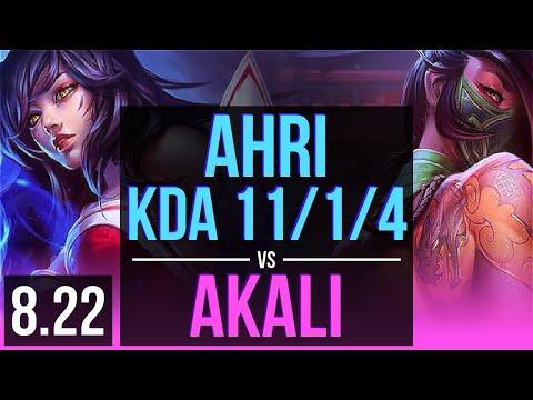 AHRI vs AKALI (MID)   KDA 11/1/4, 600+ games, 2 early solo kills, Legendary   Korea Diamond   v8.22