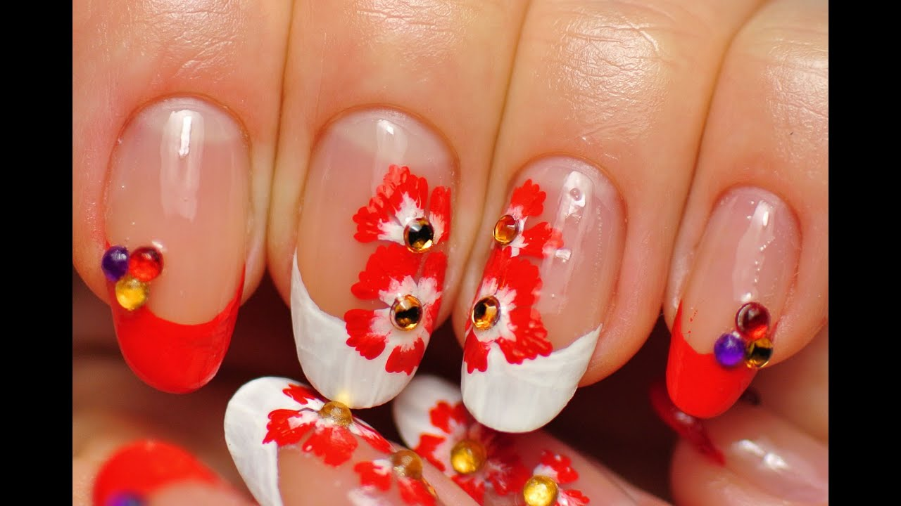 Nail Art. Experiment. White and Red French Tip Acrylic Paints. Red ...