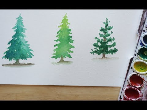 3 Ways To Paint A Pine Tree With Watercolor - Beginning To Intermediate