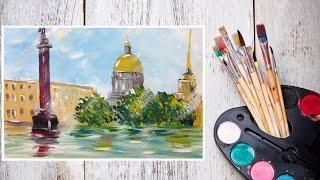 Видео урок Рисуем Гуашью Дождливый Санкт-Петербург! #Dari_Art