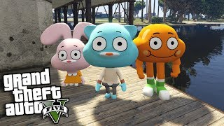 GTA 5 Mods - THE AMAZING WORLD OF GUMBALL MOD w/ GUMBALL, DARWIN & ANAIS (GTA 5 Mods Gameplay)
