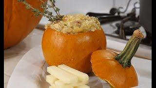 Pumpkin Risotto with Bacon and Asiago Cheese