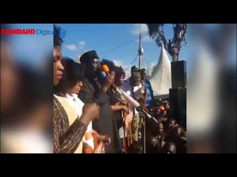 NASA leader Raila Odinga addresses Kibra residents following the swearing in of President Uhuru