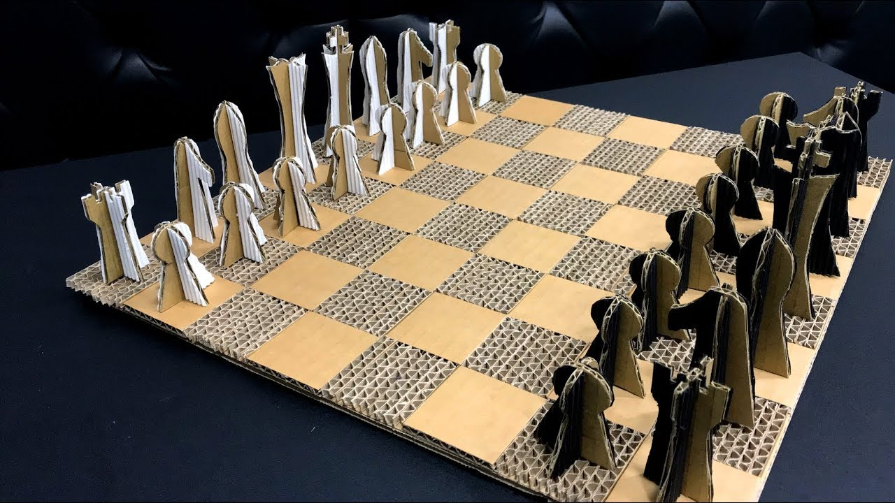 Diy Chess Board And Pieces Cardboard Art And Craft