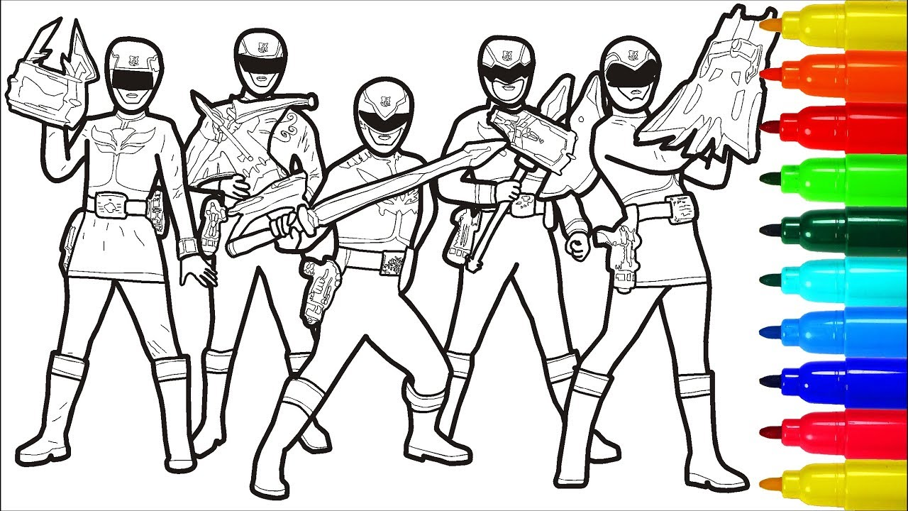 POWER RANGERS MEGAFORCE Coloring Pages With Colored Markers | Colouring  Pages For Kids