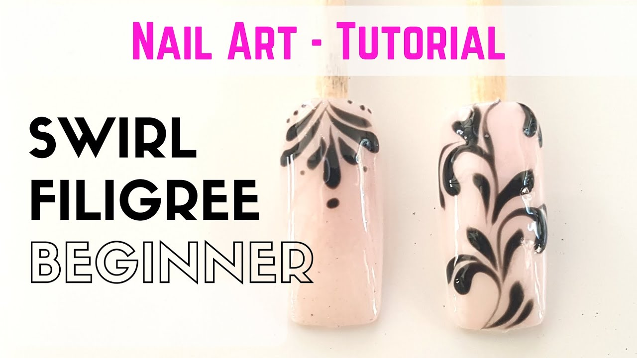 How to swirl design for beginners - NAIL ART - TIPS - TUTORIAL - YouTube