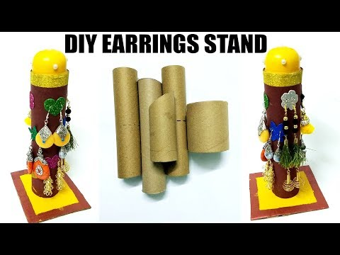 DIY EARRINGS HOLDER FROM WASTE TOILET PAPER ROLLS | FLY IN CRAFT | KITCHEN PAPER ROLLS