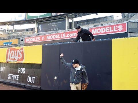 Goofing around at Yankee Stadium