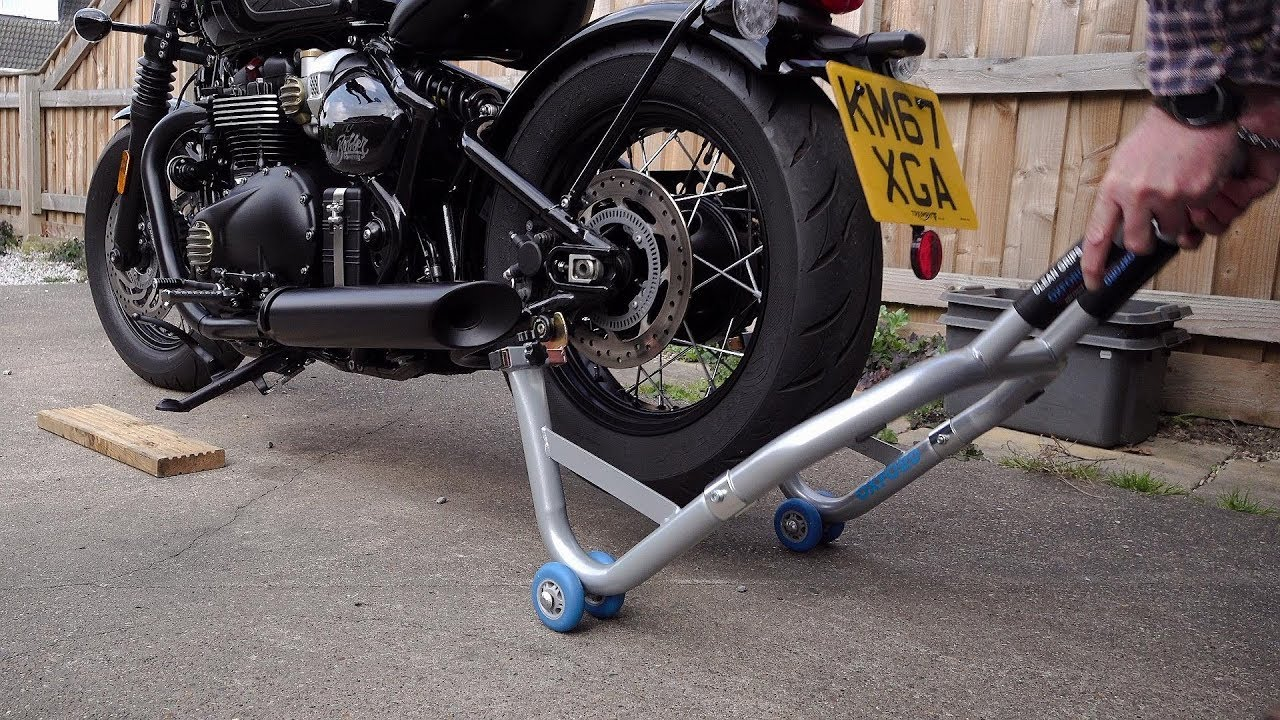 OXFORD BLACK MOTORCYCLE PADDOCK STAND REAR
