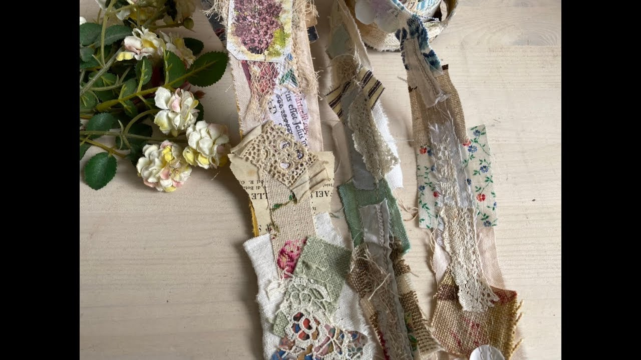 Snippet roll Embellished Fabric scraps trim 32 inch