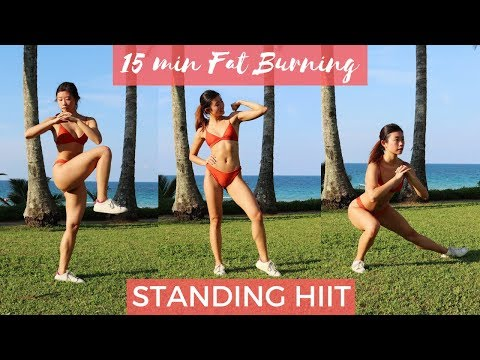 15 MIN STANDING FULL BODY FAT BURNING HIIT AT HOME TO LOSE BELLY FAT!! NO EQUIPMENT!