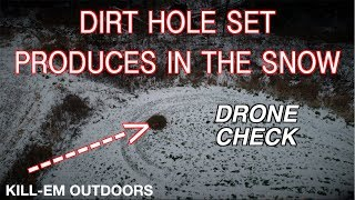 Dirt-Hole Set Produces In The Snow (Drone Check)