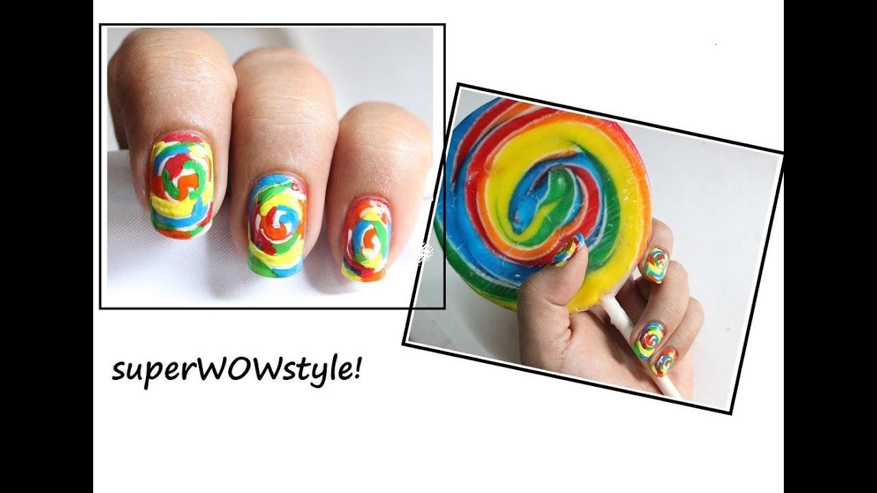 Candy Swirls Kids Nail Art Cute Nail Designs Youtube
