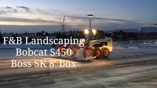 f landscaping bobcat s450 boss pusher