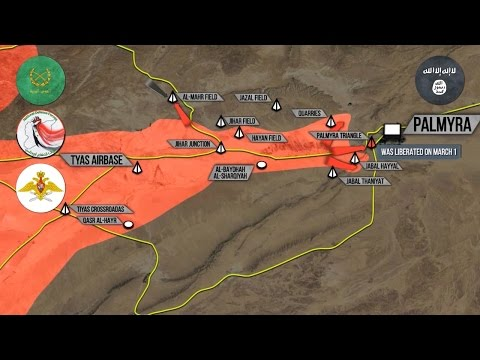 1 марта 2017. Военная обстановка в Сирии. Сирийская армия достигла Пальмиры. Русский перевод.