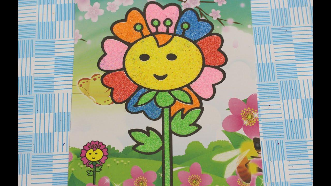 Anak anak berwarna lukisan pasir petunjuk sand art painting pasir lukisan bunga nya