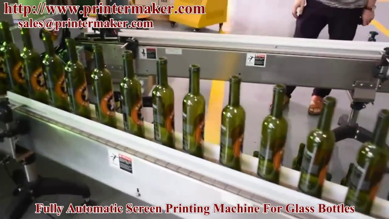 5 Color LED UV Automatic Glass Bottle Screen Printing Machine,cnc glass  bottle printing machine