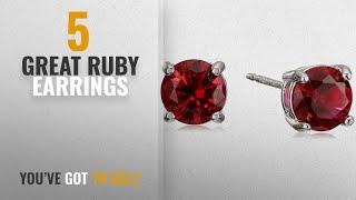 10 Best Ruby Earrings [2018]: Sterling Silver Created Ruby Round July Birthstone Stud Earrings