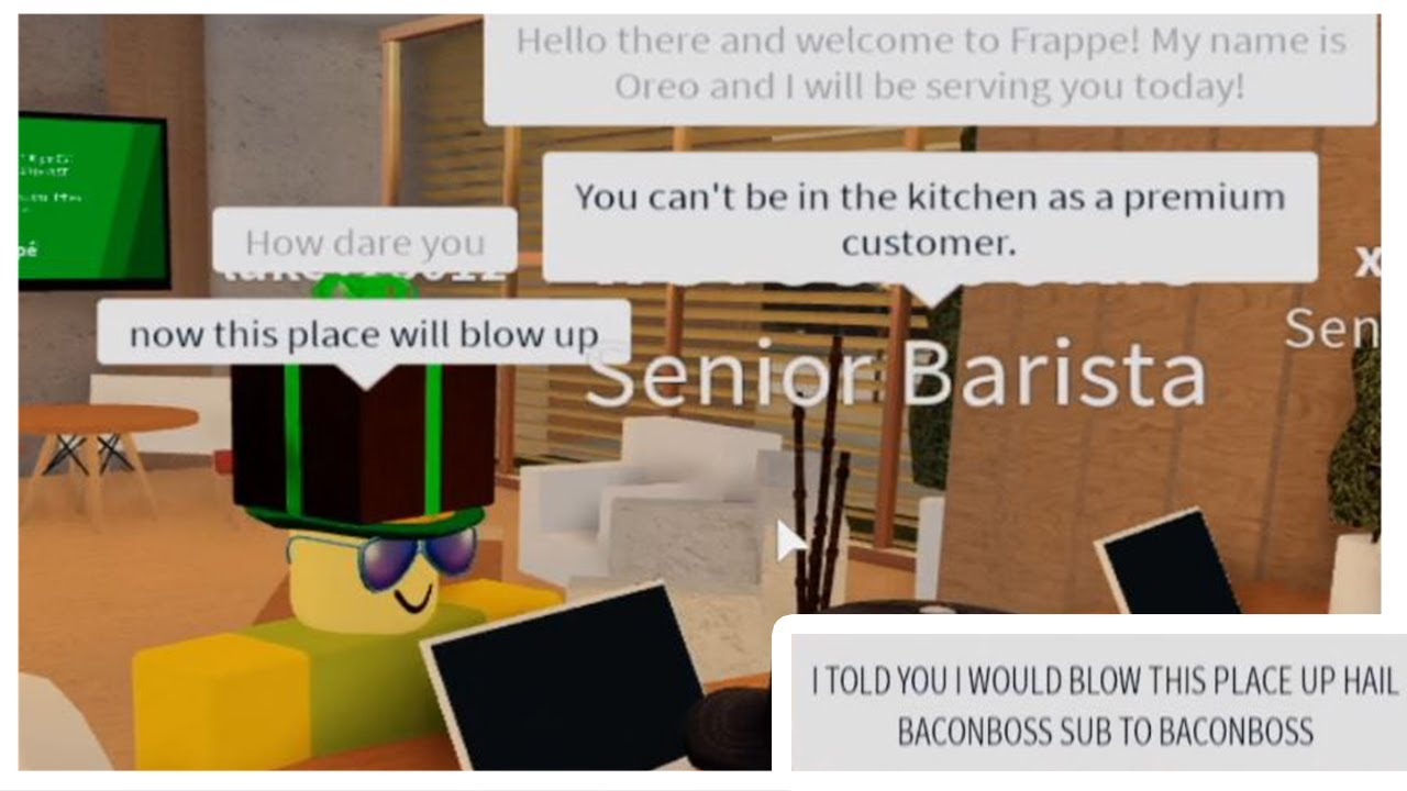 Roblox Cafe Uniform Fake Employee At Frappe 2 Roblox Exploiting Youtube