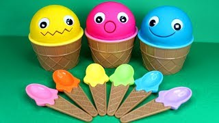 3 Colors Play Doh Ice Cream Cups Learn Colors Numbers for Kids Cry Babies Kinder Surprise Eggs