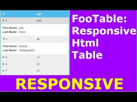 FooTable Tutorial : How To Create Responsive Html Table