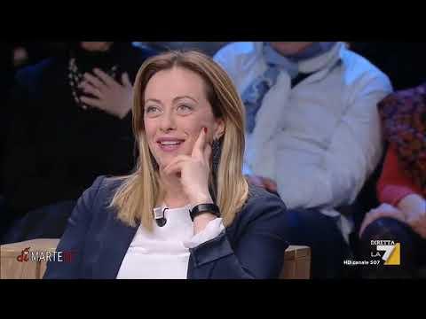 I giornalisti Damiliano, Merlino, Franco e Sallusti intervistano Giorgia Meloni