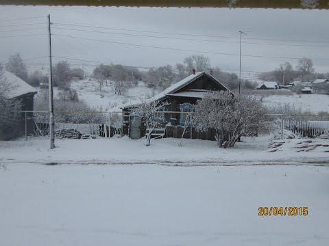 Снегопад в с. Неверово 19 апреля 2015.