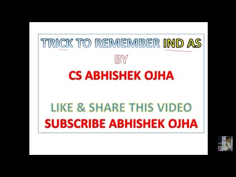 Trick to remember Ind ACCOUNTING STANDARDS