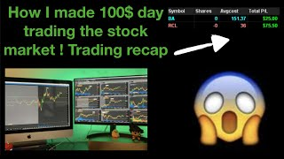 How i made 100$ day trading stocks!  (trading recap)