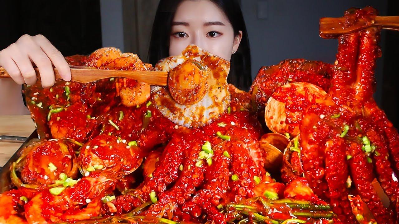 대왕 마라해물찜🔥라면사리 볶음밥까지 먹방/MASSIVE SPICY SEAFOOD BOIL! MALA 🌶 SEAFOOD FEAST MUKBANG Makanan Laut Hải sản