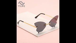 Ttlife 2021 солнцезащитные очки без оправы с бабочками женские модные оттенки uv400 винтажные